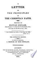 A Letter On The Principles Of The Christian Faith Edited By Sir J Sinclair Third Edition