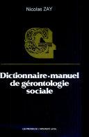 Pdf Dictionnaire-manuel de gérontologie sociale Telecharger