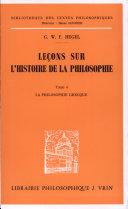 Leçons sur l'histoire de la philosophie.