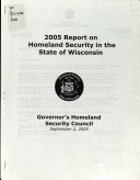 Report on Homeland Security in the State of Wisconsin Book