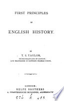 First Principles of English History