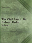 The Civil Law in Its Natural Order Book