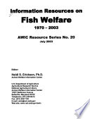 Information Resources on Fish Welfare  1970 2003 Book