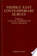 Middle East Contemporary Survey, Volume Xi, 1987