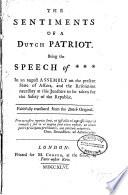 The Sentiments of a Dutch Patriot Book