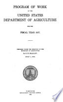 Program Of Work Of The United States Department Of Agriculture