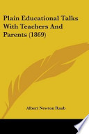 Plain Educational Talks with Teachers and Parents (1869)