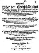 Klagschrifft Vber den Hochschädlichen Verlust der Christenheit von dem laidige[n] Türcken ein gute Zeit herumb erlitten ...