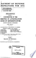 Department of Defense Appropriations for 1972 Book