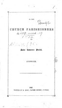 To the Church Parishioners of Saint Lawrence Parish, Ipswich. [Announcing alterations in the Church Service.]