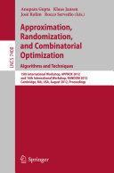 Approximation  Randomization  and Combinatorial Optimization  Algorithms and Techniques