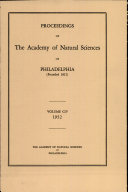 Proceedings of The Academy of Natural Sciences (Vol. CIV, 1952) Book