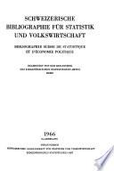 Bibliographie suisse de statistique et d'économie politique