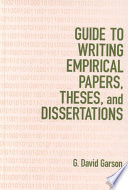 Guide to Writing Empirical Papers, Theses, and Dissertations