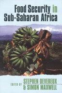Food Security In Sub Saharan Africa Book PDF