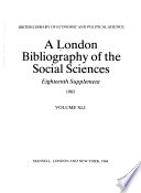 A London Bibliography of the Social Sciences