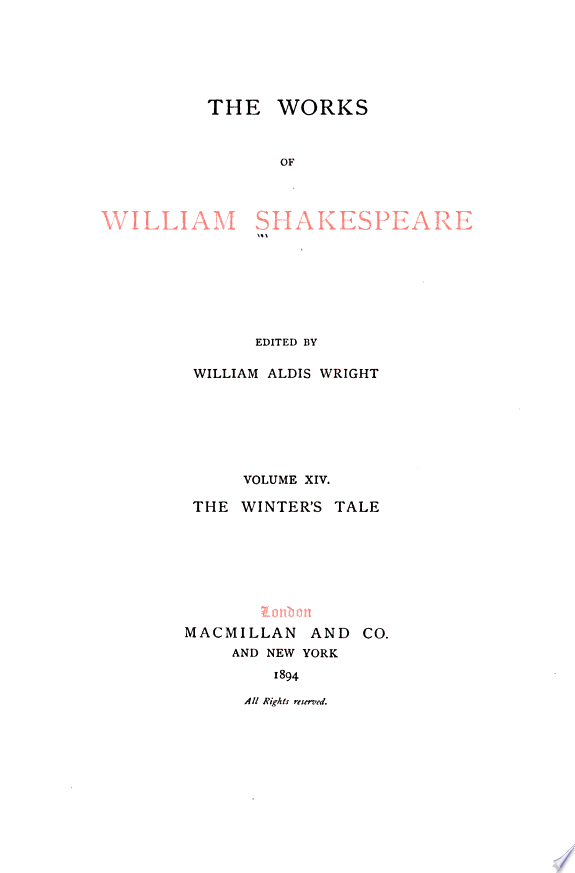 The Works of William Shakespeare  The winter s tale