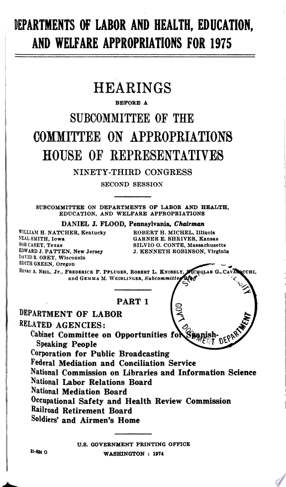 Departments of Labor and Health  Education  and Welfare Appropriations for 1974