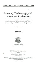 Science  Technology  and American Diplomacy