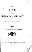 The Acts of the General Assembly of Prince Edward Island Book