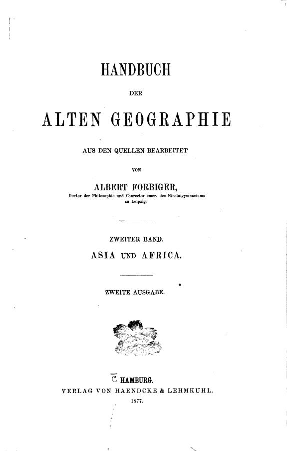 Handbuch der alten Geographie  Bd  Politische Geographie der alten Asia  Africa