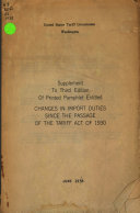 Pdf Changes in Import Duties Since the Passage of the Tariff Act of 1930