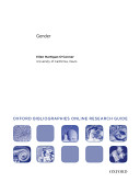 Gender Oxford Bibliographies Online Research Guide
