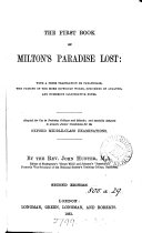 Pdf The first book of Milton's Paradise lost: with a prose tr. and notes, by J. Hunter