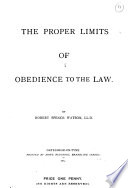 The Proper Limits Of Obedience To The Law