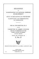 Hearings on Investigation of National Defense Establishment