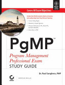 PGMP PROGRAM MANAGEMENT PROFESSIONAL EXAM STUDY GUIDE  With CD