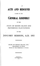Acts And Resolves Passed By The General Assembly Of The State Of Rhode Island And Providence Plantations