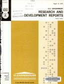 U S  Government Research   Development Reports Book