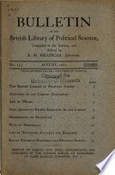 Bulletin of the British Library of Political Science