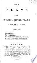 Prefaces. Tempest. Two gentlemen of Verona. Merry wives of Windsor