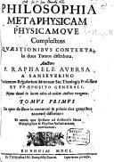 Philosophia, Metaphysicam Physicamque Complectens