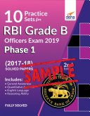 FREE SAMPLE  10 Practice Sets for RBI Grade B Officers Exam 2019 Phase 1   2nd Edition