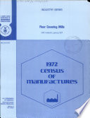 1972 census of manufactures Industry series Floor covering mills