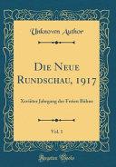 Die Neue Rundschau, 1917, Vol. 1