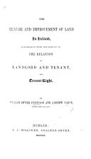 The Tenure and Improvement of Land in Ireland