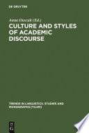 Culture And Styles Of Academic Discourse Book PDF