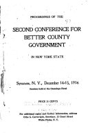 Proceedings of the ... Conference for Better County Government in New York State