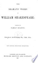 The Dramatic Works Of William Shakespeare Adapted For Family Reading By T Bowdler New Edition With Steel Engravings