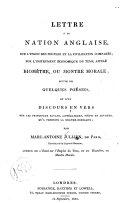 Lettre a la nation Anglaise, sur l'union des peuples et la civilisation comparée, sur l'instrument économique du tems, appelé biomètre, ou montre morale