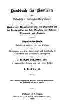 Handbuch für Kaufleute oder Uebersicht der wichtigsten Gegenstände des Handels und Manufakturwesens ...