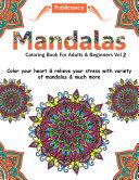 Mandalas Coloring Book For Adults   Beginners Vol 2