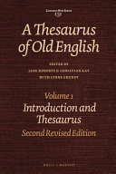 A Thesaurus of Old English  Introduction and thesaurus