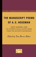 The Manuscript Poems of A. E. Housman