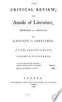 The Critical Review  Or  Annals of Literature