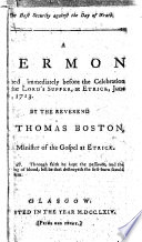 The Best Security Against The Day Of Wrath A Sermon Preached Immediately Before The Celebration Of The Lord S Supper At Etrick June 7th 1713 By Thomas Boston  Book PDF
